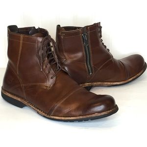 TIMBERLAND Brown Leather Side Zip Ankle Boots 9.5